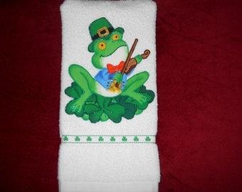 St Partick's Day Hand Towel Bathroom or Kitchen Irish Frog, A Ukulele, and Shamrocks
