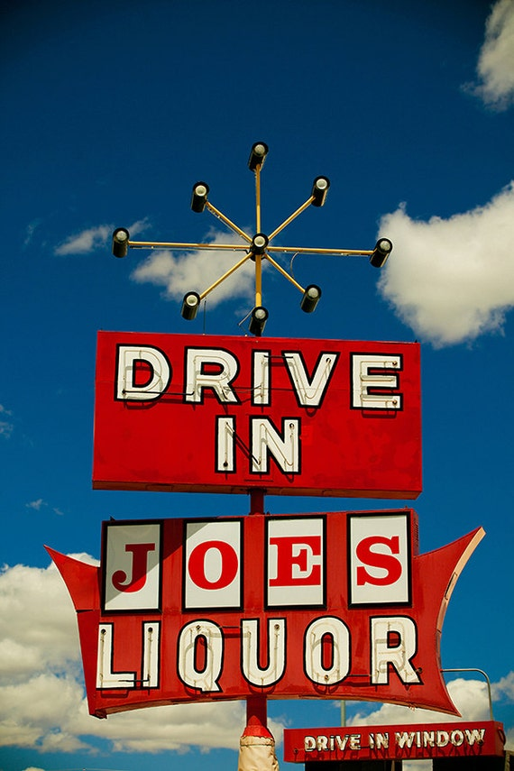 Joe's Drive In Liquor - Mid Century Modern Art - Home Bar Decor - Neon Sign Art - Atomic Starburst - Fine Art Photography