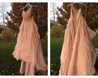 Blush Chiffon Layered One-Shoulder Wedding Gown
