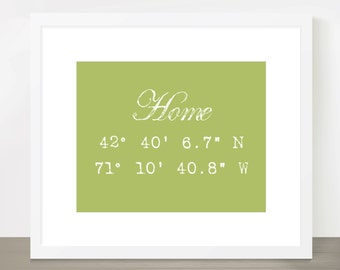 Home is Where the Heart is, Longitude Latitude 8x10 Print - Customizable with Colors, Captions and Locations