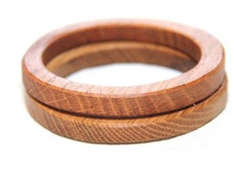2.5 inch -  TWO stacking wood bangles in oak