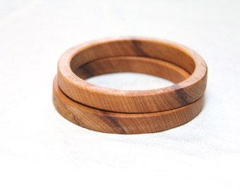 2.5 inch -  TWO stacking wood bangles in maple