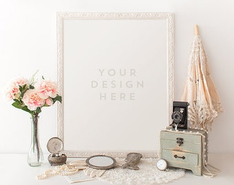 Vintage Pearls w/ Parasol, Camera Jewelry, Product / Frame Mockup Frame Mock Up for Bloggers Promo or Product, Styled Desk Stock Photography