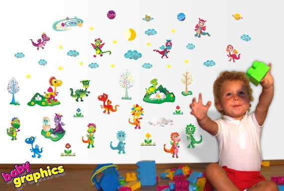 Happy Dragons removable wall stickers / decals scene - by babygraphics