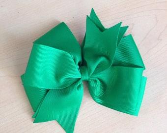 Emerald green hair bow Christmas St. Patricks