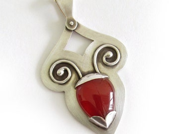Beetle Necklace, Large Sterling Silver Gemstone Pendant, Artisan Necklace, Red Carnelian Jewelry