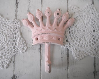 nursery decor crown hook clothing hook bedroom decor antique pink wall hook childrens hook shabby chic french country available as a set
