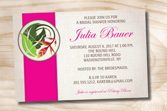 BIRD OF PARADISE Tropical Bridal Shower Party Event Invitation - Printable digital file or printed invitations