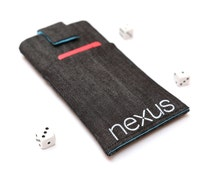 Nexus 6P, 6, Nexus 5X, 5, Nexus 4 sleeve case pouch handmade with magnetic closure dark jeans and blue with a pocket, Nexus logo