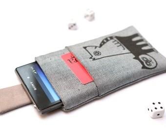 Sony Xperia XZ, XZs, XZ Premium, XA, Z5, Z3, Z2, Z1 sleeve case cover pouch with magnetic closure light jeans with pocket black Cat and Dog