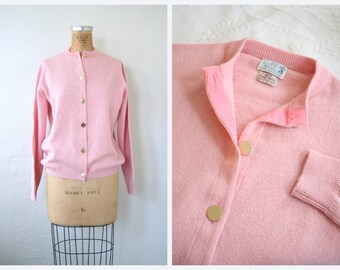 vintage 60s pastel cardigan sweater - Scottish wool / Petal Pink - 1960s prep / The Scotch House - Scotland