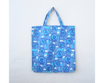 adorable 60s tote bag - printed cotton shopper / Ocean Blue - graphic floral print / Italy - vintage 1960s