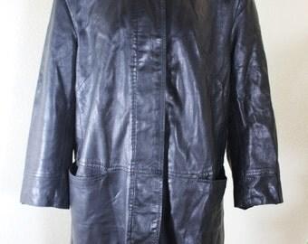 Vintage JEKEL Paris Black Lambskin Leather Jacket Coat Sz. 40 6 7 8 France