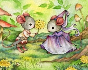 Fair Maiden - Medieval Mouse Art 8.5x11 Print
