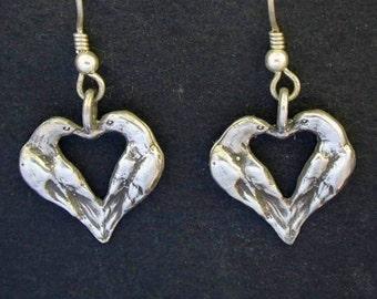 Sterling Silver Lovebird Heart Earrings on Sterling Silver French Wires