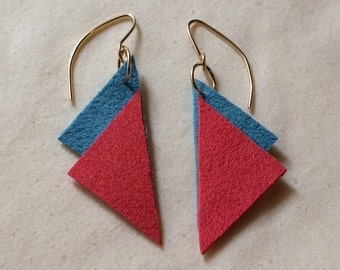 Coral and Electric Blue Triangle Leather Earrings