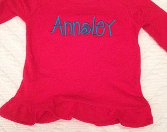 Size 8 Girls long sleeve red ruffle shirt