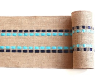 Beach Table Runner - Burlap with Navy Blue & Turquoise Ribbons - Elegant Table Accessory  - Coastal Living Decor