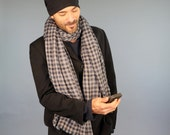 Organic Cotton Gauze Scarf in Reversible Checked Plaid - Long Scarf - Unisex - Eco Friendly - Black Gray