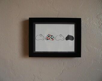 Letterpress Wall Art  -4 Bunnies-