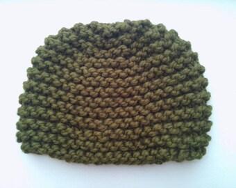 Handmade moss green wool knit hat for men or women