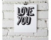 Love You, letterpress print