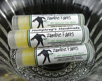 ZOMBIE FARTS Lip Balm, Vanilla Flavor Lip Balm, Humphrey's Handmade All Natural Bee Balm, Funny Horror Balm for Soft Lips, Jojoba Oil