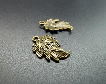 20pcs 13x20mm Antique Bronze Mini  leaf  Charms Pendant c3558