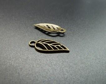 50pcs 8x18mm Antique Bronze Mini Leaf Charm Pendant c3544