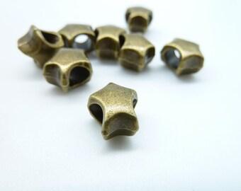 30pcs 7x9x11mm-4mm Antique Bronze Heavy Mini Star Spacer Charm Pendant c4217