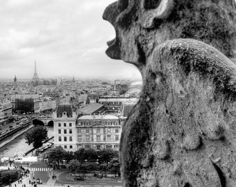 Black and White Photography, Notre-Dame Paris, Gargoyles, France, Architecture Photography, Paris Wall Art, Paris Black and White Print