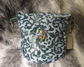 In Stock Blue Filigree Clip Bag, Belt Loop Pouch, Fanny Pack, Loop Bag