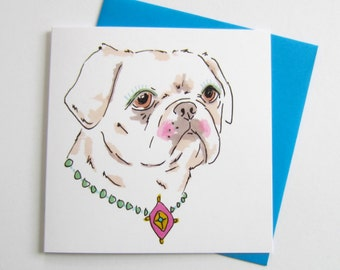 Cute Pug With Vintage Necklace. Pug. Pug Lover. Blank. 5.5 Inch. Square. Greetings Card