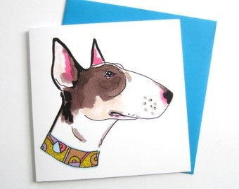 Bull Terrier With Vintage Necklace. Bull Terrier. Bull Terrier Lover. Blank. 5.5 Inch. Square. Greetings Card