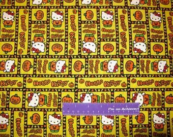 Sanrio HELLO KITTY Halloween Candy Corn Pumpkin Cotton Fabric By The Half Yard