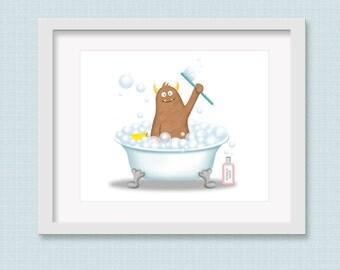 Monster Bathroom Art - Children's Bathroom - Monster Bath - Bathroom Decor - Boy Bathroom Art