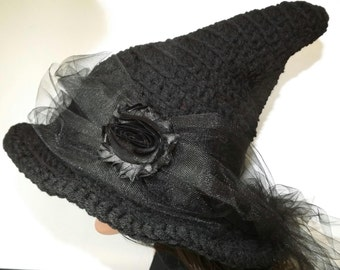 Black Witch Hat- The Craft Keeper- Pretty Witch-Black Rose Black Tulle Chiffon Halloween Yule Fashion
