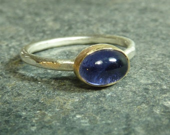 Iolite 14K gold and silver Ring