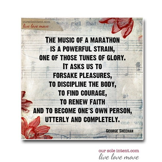 Marathon Music  - INSPIRATIONAL Run Art Print - run marathon race runner digital wall decor