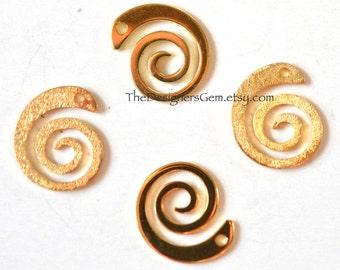 One Swirl Spiral Loop Charm in Vermeil Gold
