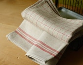 2 Organic Linen Towels with  stripes and checks - Hand Towels- Natural Rustic Linen Tea Towels- Eco Friendly
