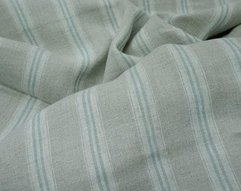 Pure  linen fabric with white and very  light blue stripes-natural fabric-ecofriendly-washed-duck egg stripe