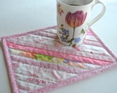 Pink Mug Rug, Oversized coasters, Quilted placemats, pink snack mat, quilted mug mat, upcycled selvage
