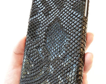 """Trendy Apple iPhone 6 6s Plus 5.5"""" Black Python Snake Skin Patent Leather Cellphone Smartphone mobile Snap On Phone Cover Hard Shell Case"""