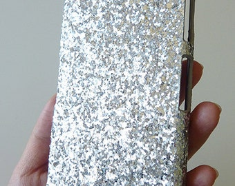 Sony Ericsson Xperia Z2 Silver Specks Sequin Cluster Cell Phone Bling Hard Case Cover
