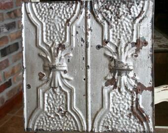 """Genuine Antique Ceiling Tile -- 12"""" x 12"""" --  Rusty Silver Paint -- Unique Design"""