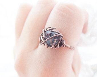 Blue Nest Ring, Rustic Kyanite Ring, Wire Wrapped Vintage Style Kyanite Ring, Kyanite Jewelry
