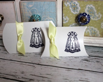 Christening Dress Pillow Boxes  -  Set of 10  - You choose ribbon color