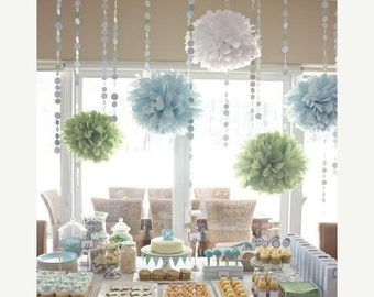 Baby Shower Decor Pack ...10 Tissue Paper Poms And Garland / First Birthday