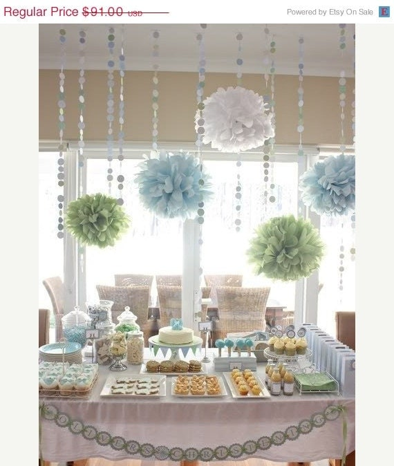 Baby shower decor pack 10 tissue paper poms and garland for Baby shower decoration packs